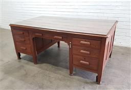Sale 9126 - Lot 1116 - Early 20th Century Oak Partners Desk, fully fitted with drawers to one side, the other with drawers & a door, fitted with slides &...