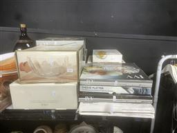 Sale 9106 - Lot 2461 - Collection of Boxes Crystal & Glass Platters, Bowls, etc