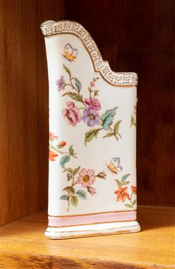 Sale 9120H - Lot 183 - A French floral printed jug with gilt and pink borders, Height 15cm, marks to base