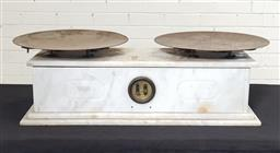 Sale 9179 - Lot 1074 - 19th Century Large French Carrara Marble Cased Set of Scales, with two round brass pans & balancing window (h:22 w:76 d:34cm)