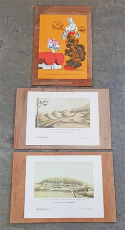 Sale 9183 - Lot 1030 - Pair of mounted prints