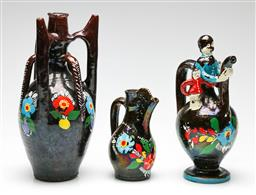 Sale 9209 - Lot 28 - An early graduating set of studio pottery and hand painted ewers - some wear (H:17cm to 30.5cm)