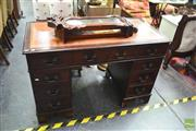 Sale 8328 - Lot 1051 - Twin Pedestal Desk With Brown Tooled Top