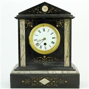 Sale 8372 - Lot 8 - Black Slate & Marble Mantle Clock
