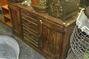 Sale 8338 - Lot 1296 - Rustic Sideboard with Crate Style Drawers Flanked by Doors