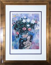 Sale 8562A - Lot 174 - Marc Chagall - Lovers total size inc frame 120 x 94cm