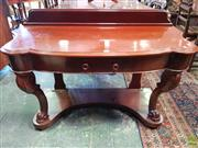 Sale 8598 - Lot 1088 - Victorian Mahogany Serpentine Fronted Hall Table, with single drawer, cabriole legs & lower tier