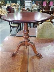 Sale 8617 - Lot 1035 - Victorian Carved Rosewood Wine Table, the later pine top on a centre pedestal