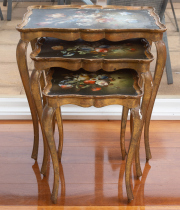 Sale 8677B - Lot 674 - A nest of three Florentine hand painted tables, largest H x 60cm, L x 66cm