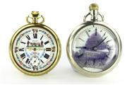 Sale 8679 - Lot 319 - TWO INTERESTING OPEN FACE POCKET WATCHES; one with white dial signed Volvo and featuring painted cows and cowherds, Roman numerals,...
