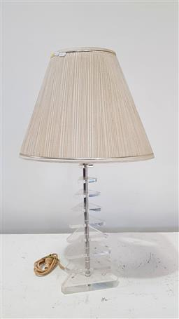 Sale 9171 - Lot 1040 - Graduating triangular perspex table lamp with pleated shade (h:78cm)