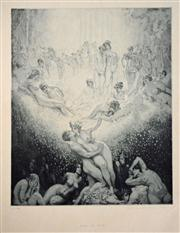 Sale 8068A - Lot 92 - Norman Lindsay (1879 - 1969) - Love On Earth 35 x 39cm
