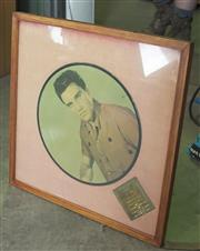 Sale 8319 - Lot 305 - Framed Elvis Presley colour picture portrait LP with plaque