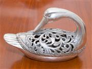 Sale 8308A - Lot 102 - A Chinese silver like duck form incense burner, marks to base, H 18cm, L27cm