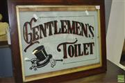 Sale 8380 - Lot 1070 - Gentlemens Toilet sign by M. Coates (frame size 41 x 51.5cm)