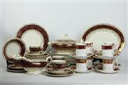 Sale 8461 - Lot 100 - Crown Ducal Red & Gilt Dinner Wares (AF) with Elizabethan Cup Saucer Combos