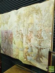 Sale 8539 - Lot 1022 - Belgian Tapestry of a Court Scene, in a garden setting gathered by a fountain, H 129 x W 164cm