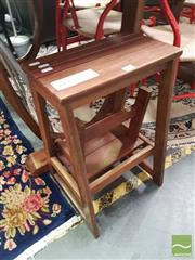 Sale 8554 - Lot 1042 - Timber Step Stool & Retro Side Table (2)