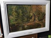 Sale 8563T - Lot 2108 - A. Hoare Cottage in the Woods Framed Oil on Canvas SLR