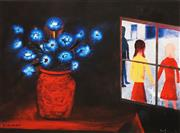 Sale 8722A - Lot 5049 - Charles Blackman (1928 - ) - Blue Bouquet and Window 28.5 x 36cm (image), 42.5 x 50cm (frame)