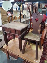 Sale 8593 - Lot 1028 - Timber Chair & Side Table (2)