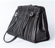 Sale 8891F - Lot 24 - A Bulgari pleated black leather handbag, H 25 x W 37 x D 15cm