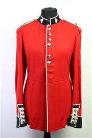 Sale 8993 - Lot 1022 - Mid 20th Century British Military Uniform, of the Irish Coldstream Guards, with shamrock to collars, with old mannequin (H:143 x W:4...