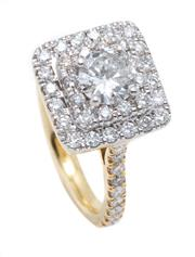 Sale 9066A - Lot 55 - AN 18CT GOLD DIAMOND RING; centring a round brilliant cut diamond of approx. 0.66ct P1 to square surround and shoulders set with a t...