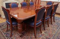 Sale 9080H - Lot 15 - A C19th mahogany extension dining table the top with canted corners on turned and carved legs terminating in castors, Total Length...