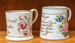 Sale 9120H - Lot 185 - Two early English commemorative ceramic tankards, Height of taller 10.5cm