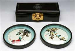 Sale 9153 - Lot 34 - A Chinese fitted jewellery box (W: 25cm), together with two bird dioramas (dia 17cm)