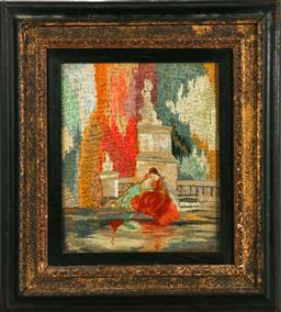 Sale 9156 - Lot 237 - An early framed silk depicting two Florentine ladies (34cm x 39cm)
