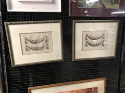 Sale 9172 - Lot 2058 - Pair  Early Engravings of Floral Swags, 19x26.5cm ea.