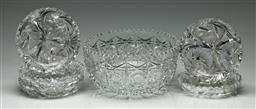 Sale 9190 - Lot 96 - A cut crystal bowl together with five dishes (Dia:22cm and 14.5cm)