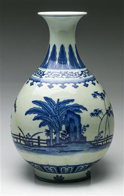 Sale 9192 - Lot 28 - Blue and White Ceramic Chinese Baluster Vase Depicting Garden Scenes (H:37cm)