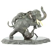 Sale 8252 - Lot 81 - Meiji Period Bronze Signed Japanese Elephant with Attacking Lions