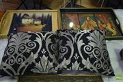 Sale 8532 - Lot 1325 - Two Serving Trays & Pair of Modern Cushions (4)