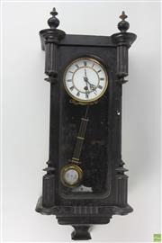 Sale 8563 - Lot 215 - Late 19th Century Lenzkirch Ebonised Wall Clock, with white enamel dial & grid iron style pendulum