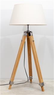 Sale 8644A - Lot 52 - A tripod based contemporary lamp with cream shade and extendable legs.