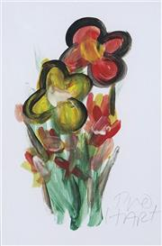 Sale 8722A - Lot 5039 - Kevin Charles Pro Hart (1928 - 2006) - Flowers 29 x 20cm