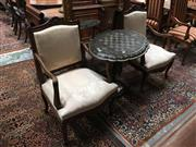 Sale 8882 - Lot 1064 - Pair of Louis XV Style Carved Walnut Armchairs, upholstered in a cream fabric & on cabriole legs. Provenance: Shapiro Estate of Doro...
