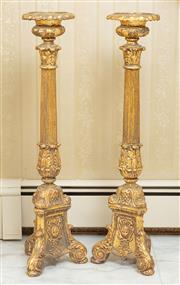 Sale 8908H - Lot 10 - A tall pair of corinthian column candlesticks on ornate trifooted bases, Height 82cm