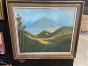 Sale 8995 - Lot 2040 - Artist Unknown (Cherie) Country Valley and Mountain View oil on canvas laid board, 80 x 92cm (frame)