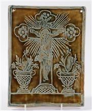 Sale 9003 - Lot 89 - A Glazed Ceramic Plaque of Christ (18cm x 24cm)