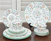 Sale 9081H - Lot 36 - A Mintons dinner set for four in the Haddon Hall pattern comprising cups, saucers, side plates and dinner plates.