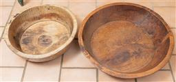Sale 9120H - Lot 186 - Two graduating elm rustic oriental oversized bowls, Diameter of larger 76cm