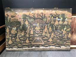 Sale 9139 - Lot 2094 - Indo-Persian painting depicting a  palace garden, 147 x 223 cm,
