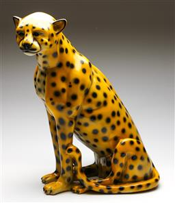 Sale 9253 - Lot 3 - A Large Ceramic Cheetah (H:57cm, some wear to foot)