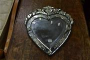 Sale 8046 - Lot 1028 - Art Deco Bevelled Edge Heart Shaped Mirror w Surrounding Attachments