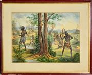 Sale 8599A - Lot 19 - Artist Unknown (XIX) - Aboriginals Hunting, 1911 39 x 56cm